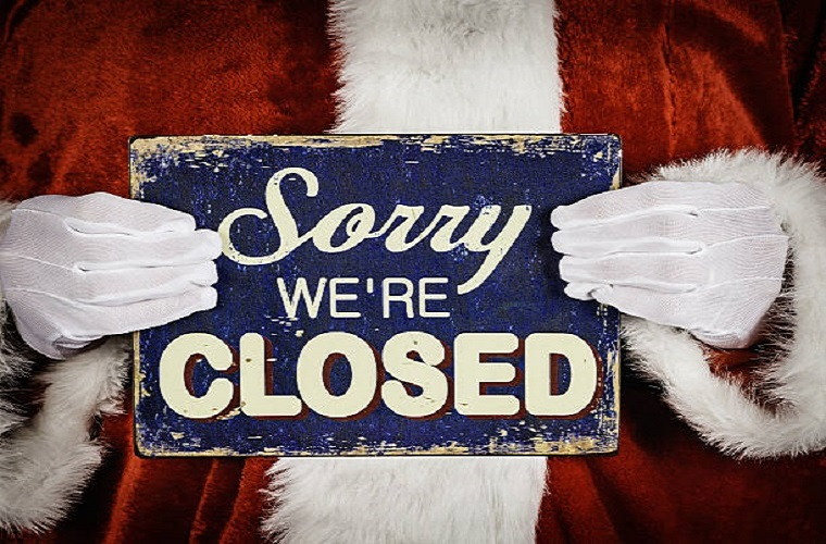 WE WILL BE CLOSED DURING CHRISTMAS HOLIDAYS